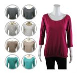 Wholesale Womens Ex Chainstore Scoop Neck T-Shirt Top 3/4 Sleeve